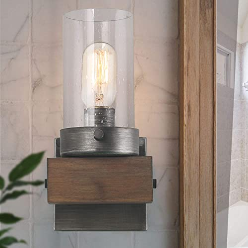 LOG BARN Wooden Vanity Lights, Wall Sconce with Rustic Base and Seeded Glass Shade, Farmhouse Metal Bathroom Fixtures Over Mirrors for Bedroom, Powder Rooms