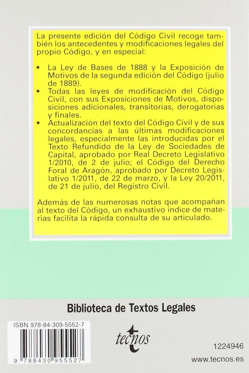 Código Civil (Derecho - Biblioteca De Textos Legales): Amazon.es: Aa.Vv.: Libros