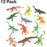 Plastic Crocodile 3.5 Inches - Pack Of 12 -Cool Assorted Colors Plastic Alligator – For Kids Great Party Favors, Fun, Toy, Gift, Prize, Piñata Fillers - By Kidsco