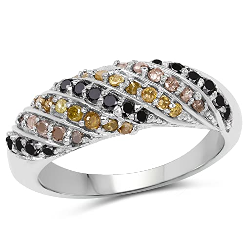70c3889b2168d 925 Sterling Silver Genuine Champagne Diamond, Yellow Diamond and ...
