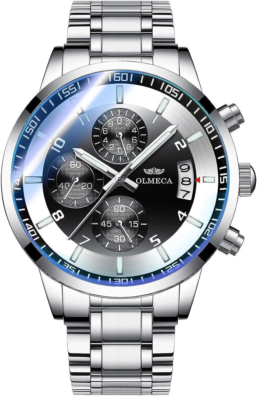 OLMECA Men s Watches Sport Fashion Casual Analog Quartz Watches Stainless Steel Chronograph Watch Waterproof Wrist Watch for Men 902