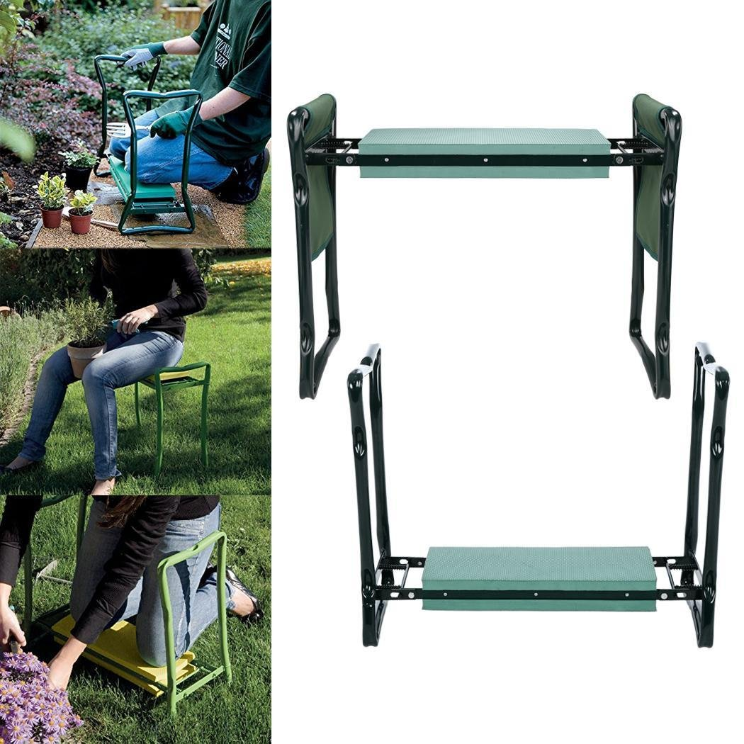Foldable Portable Patio Backyard Garden Bench Kneeler Seat Stool with Foam Kneeling Pad and 2 Tool Pouch