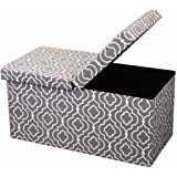 Otto & Ben  Folding Toy Box Chest with SMART LIFT Top, Mid Century Upholstered Ottomans Bench Foot Rest, Moroccan Grey