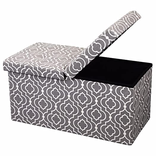 Otto Ben Folding Toy Box Chest with SMART LIFT Top, Mid Century Upholstered Ottomans Bench Foot Rest, Moroccan Grey