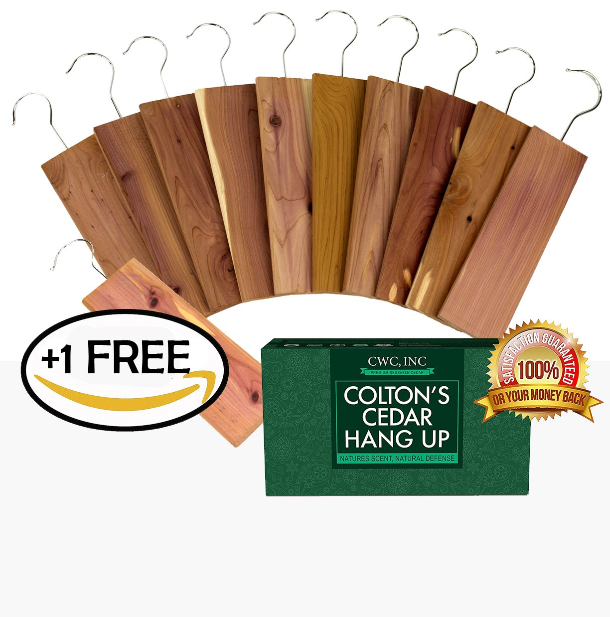 "11 Pack Moth Protection Cedar Hang Up Closet Light Cedar Aroma Protection Large Size (9"" x 2.6"" x .4"" Inches)"