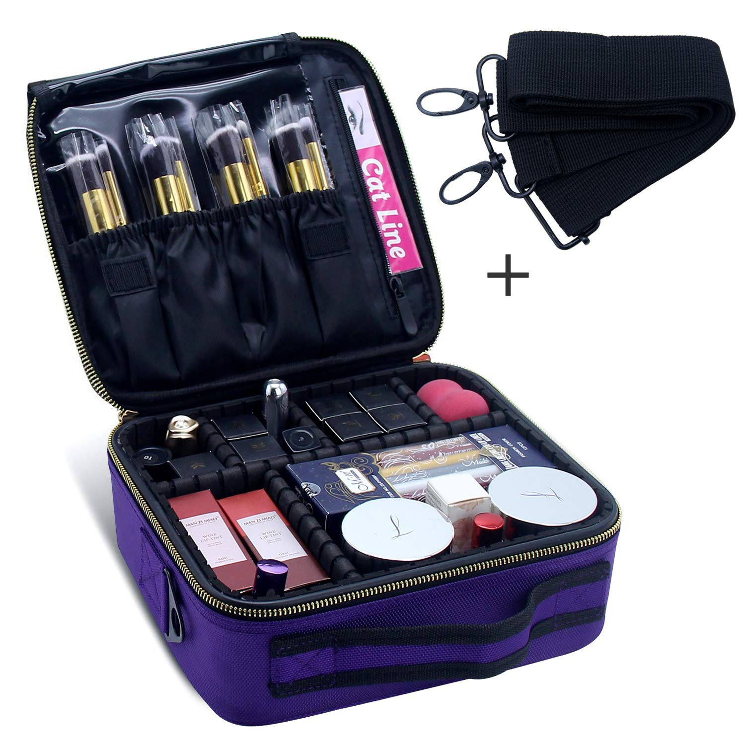 Portable Makeup Luggage, Chomeiu 2 Layer Large Size Make Up Bag Adjustable Makeup Box with Compartments Neceser De Maquillaje (Black) FUS