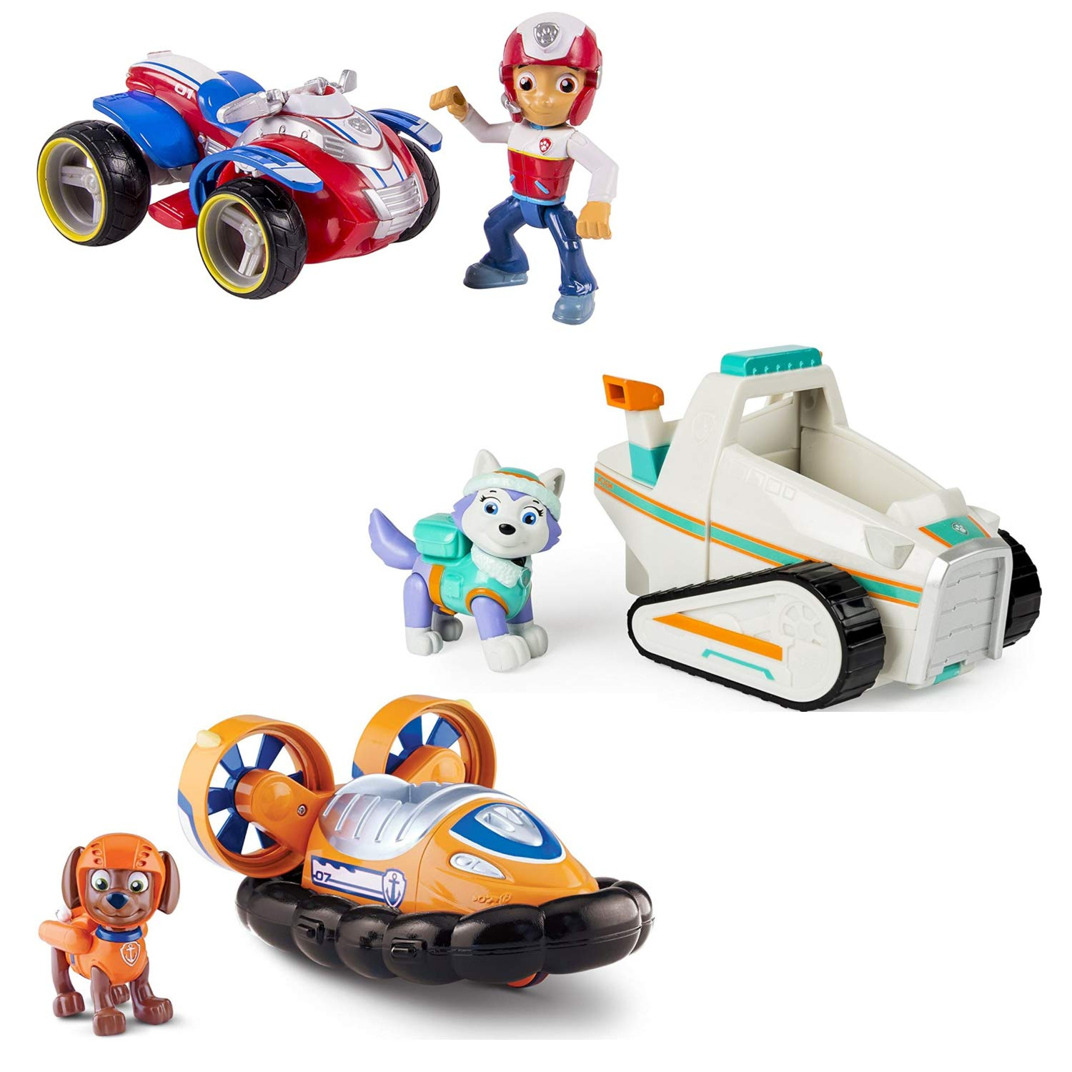 Paw Patrol Ryder's Rescue ATV, Paw Patrol Everest's Rescue Snowmobile, and Paw Patrol Zuma's Hovercraft, Vehicle and Figure, Bundle
