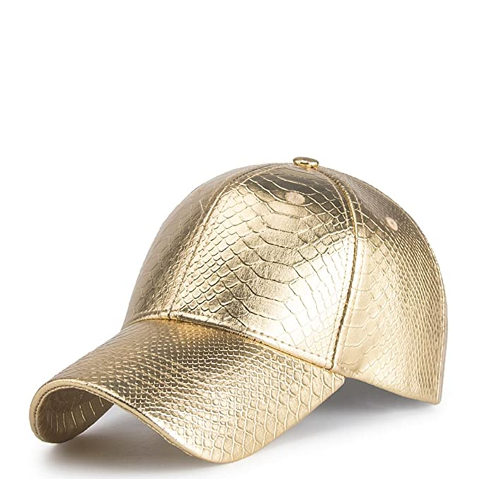 MeiQinSix Women Men Adjustable Bling Bling Swag Hiphop Golden Baseball Cap Pu Leather Hat Hat at Amazon Mens Clothing store: