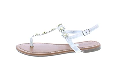 3caf7267dab Gold Toe Women s Malia Metallic Flower Embellished T-Strap Flat Thong Sandal  with Back Ankle