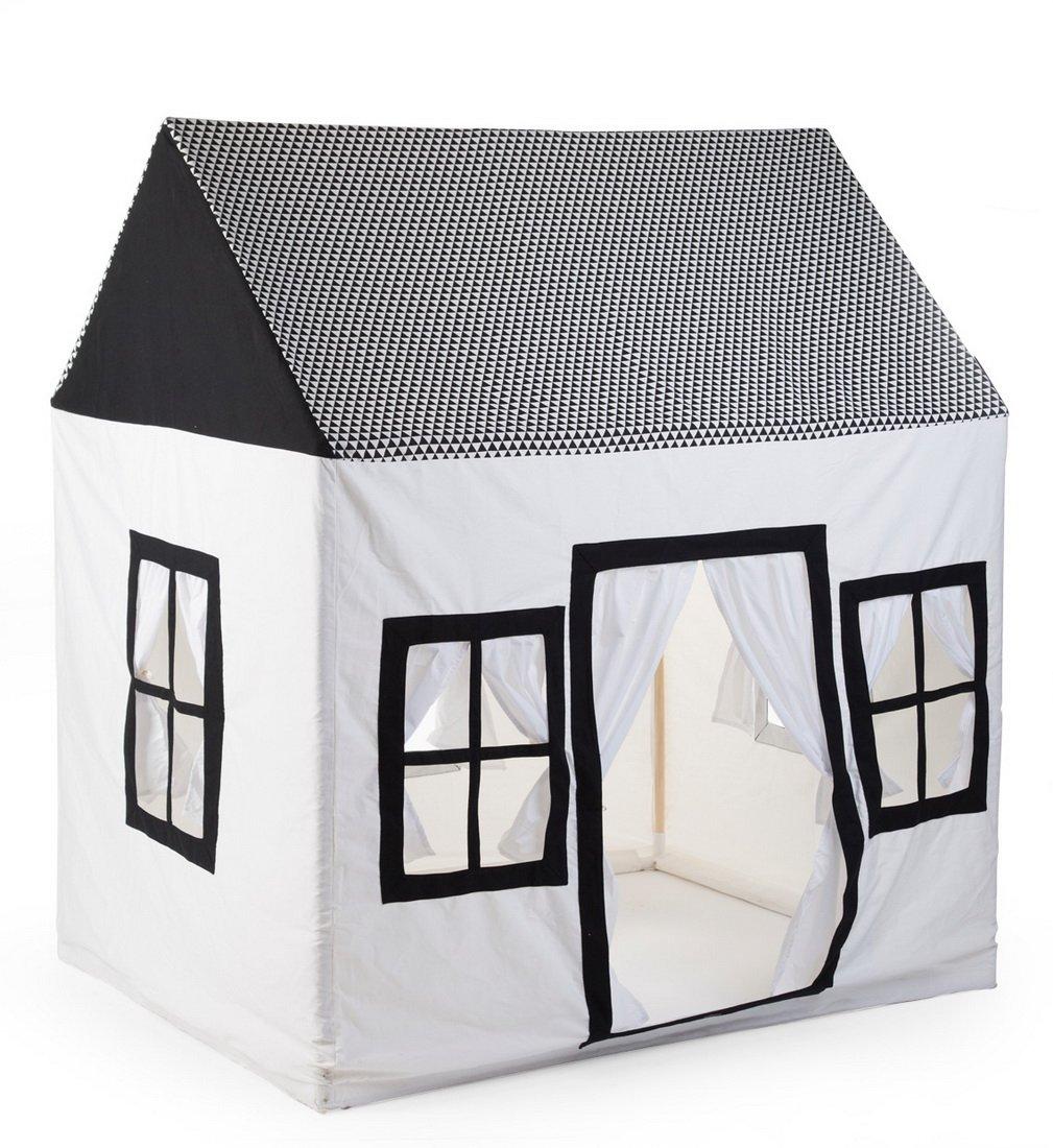 Lasse Spela - - - Childhome- Spielzelt Haus Spielhaus Bude 100% Baumwolle Holzpfeiler, 125x95x145cm, Weiß e35f0e