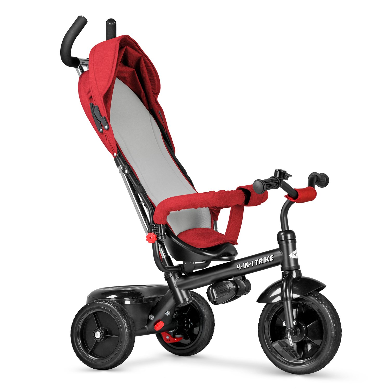 besrey Kids Tricycle 4 in 1 Baby Trike with Steering Handle - Red