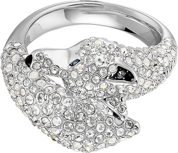 Mancha franja ambición  Amazon.com: Swarovski - Anillo de cristal auténtico de lobo polar,  multicolor, chapado en rodio, tamaño 6, joyería de moda para mujer  tachonada con cristales, brillante, para boda y compromiso: Jewelry