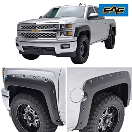 Chevy Silverado Fender Flares >> Eag Front And Rear Fender Flares Pocket Style Fit For 14 18 Chevrolet Silverado 1500 5 9 Ft Bed
