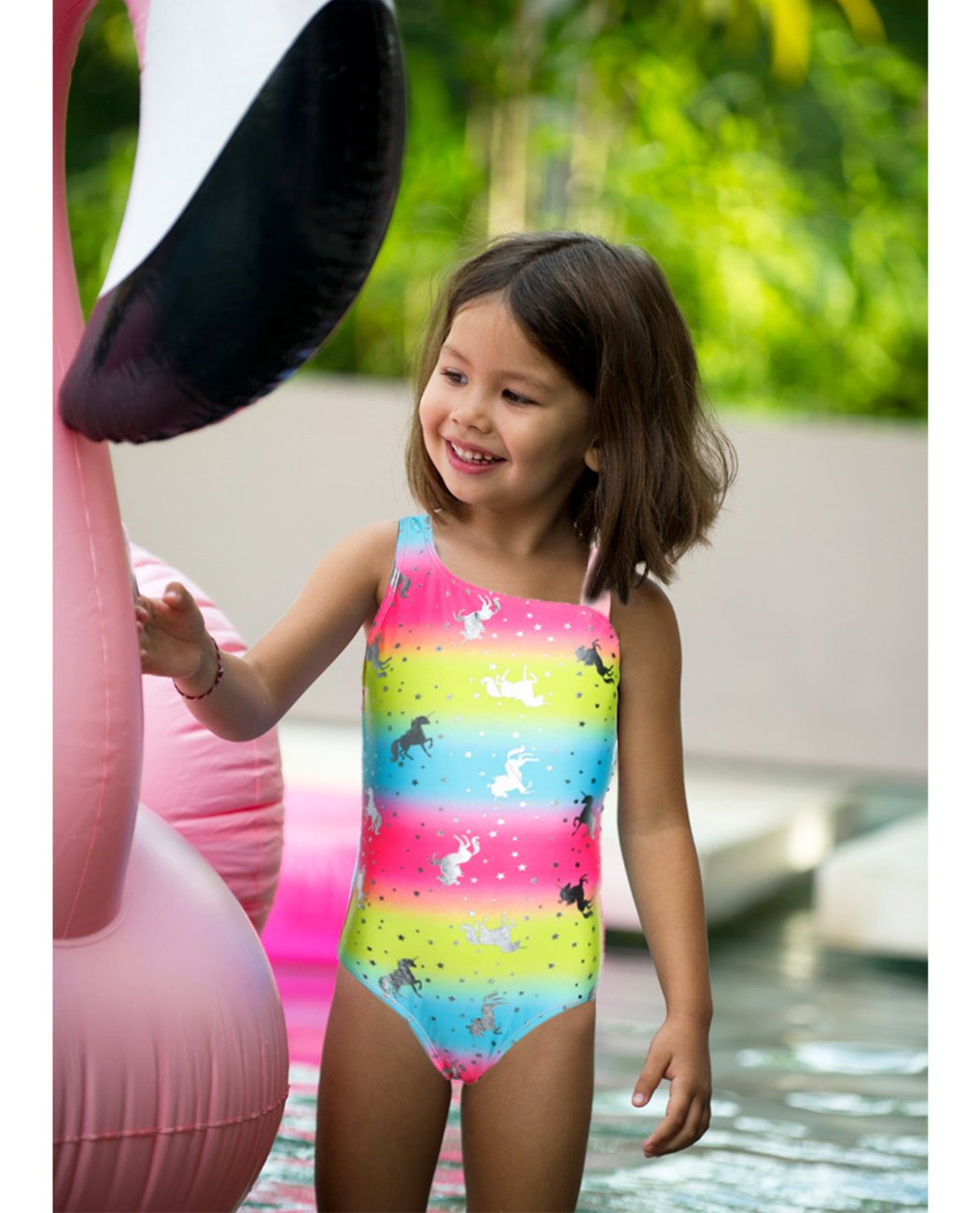 iDrawl Rainbow Swimwear for Girls One Piece, Hot Silver Unicorn Beach Sport Swimming Suits 9