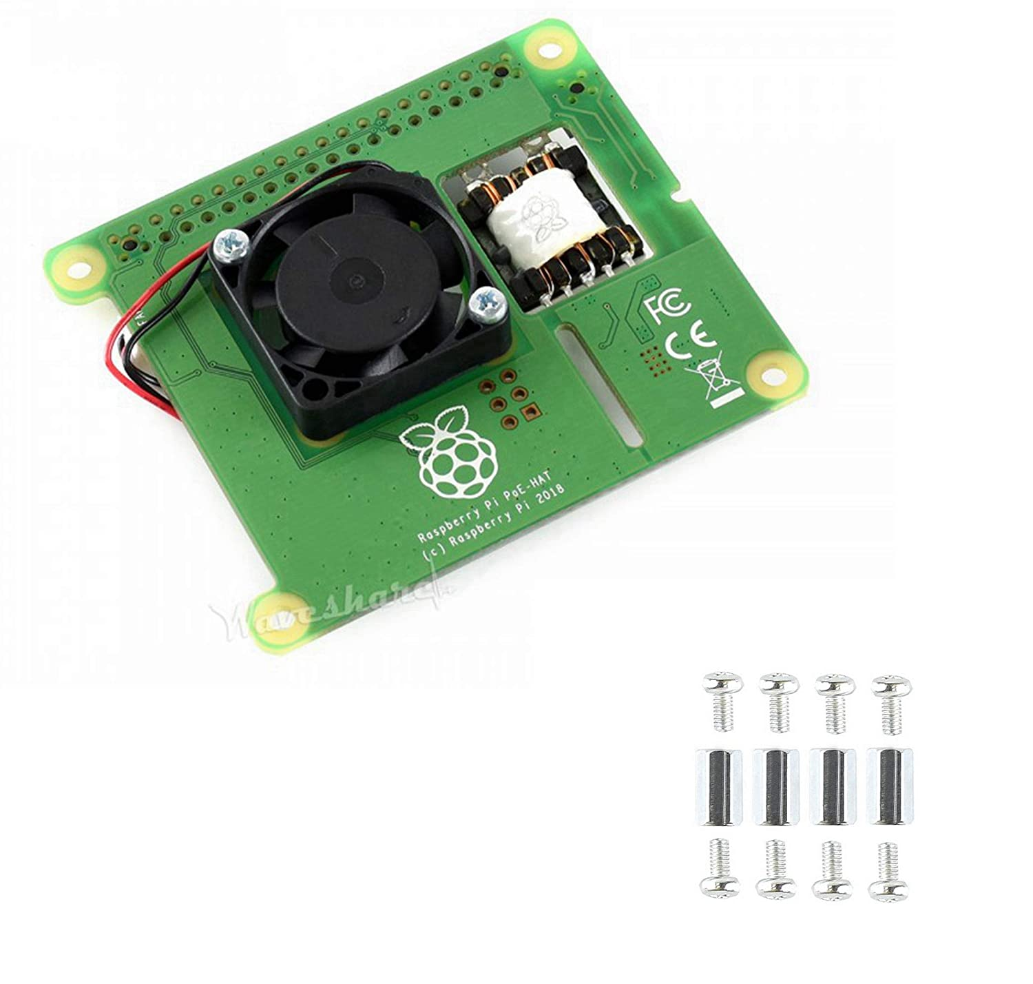 Pzsmocn Class 2 Device, Power Over Ethernet HAT for Raspberry Pi 3B+ and 802.3af PoE Network.5V/2.5A DC Output. 25mm25mm Brushless Fan for Processor Cooling.
