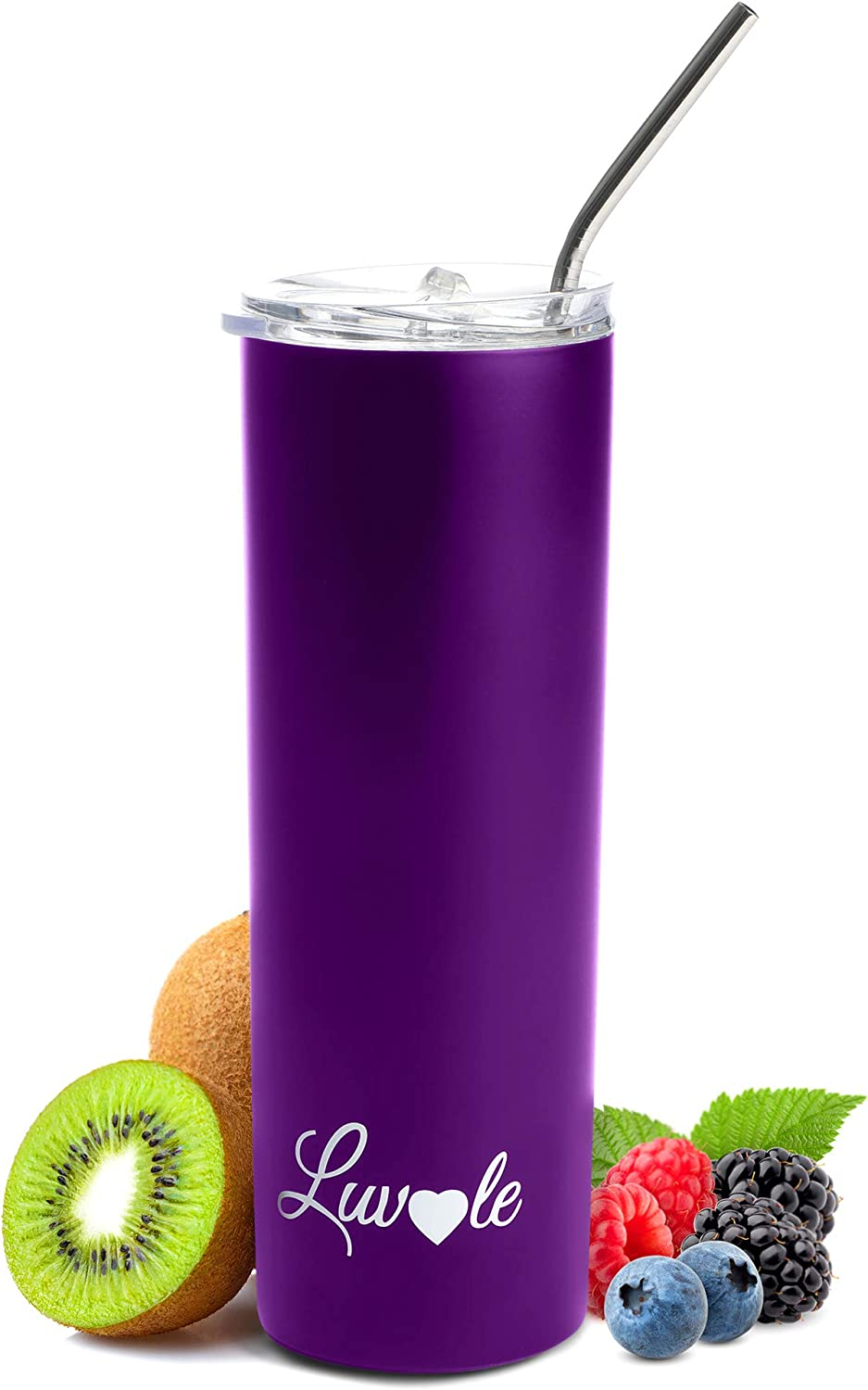 Luvle Stainless Steel Tumbler double-Wall tumbler Vacuum Insulated Tumbler with Lid and straw stainless steel cup for COLD and HOT drinks Insulated coffee cup when you're at home or on the go