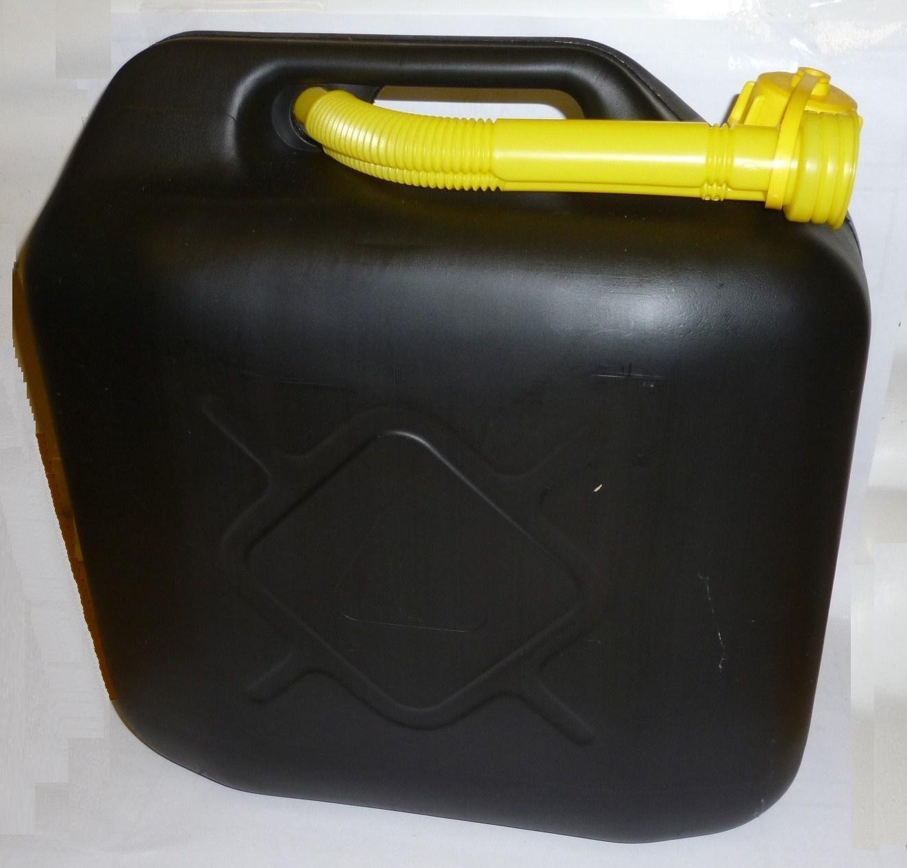Fuel Jerry Can 20 Litre Plastic Black With Pouring Spout 2 Pack/S All Ride