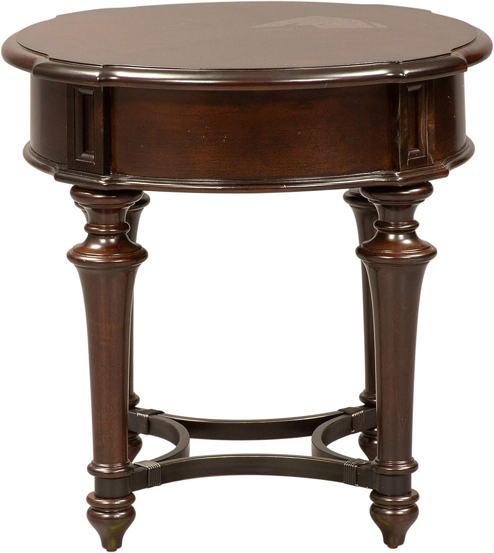 Liberty Furniture Industries Kingston Plantation Round End Table, W25 x D28 x H24, Dark Brown