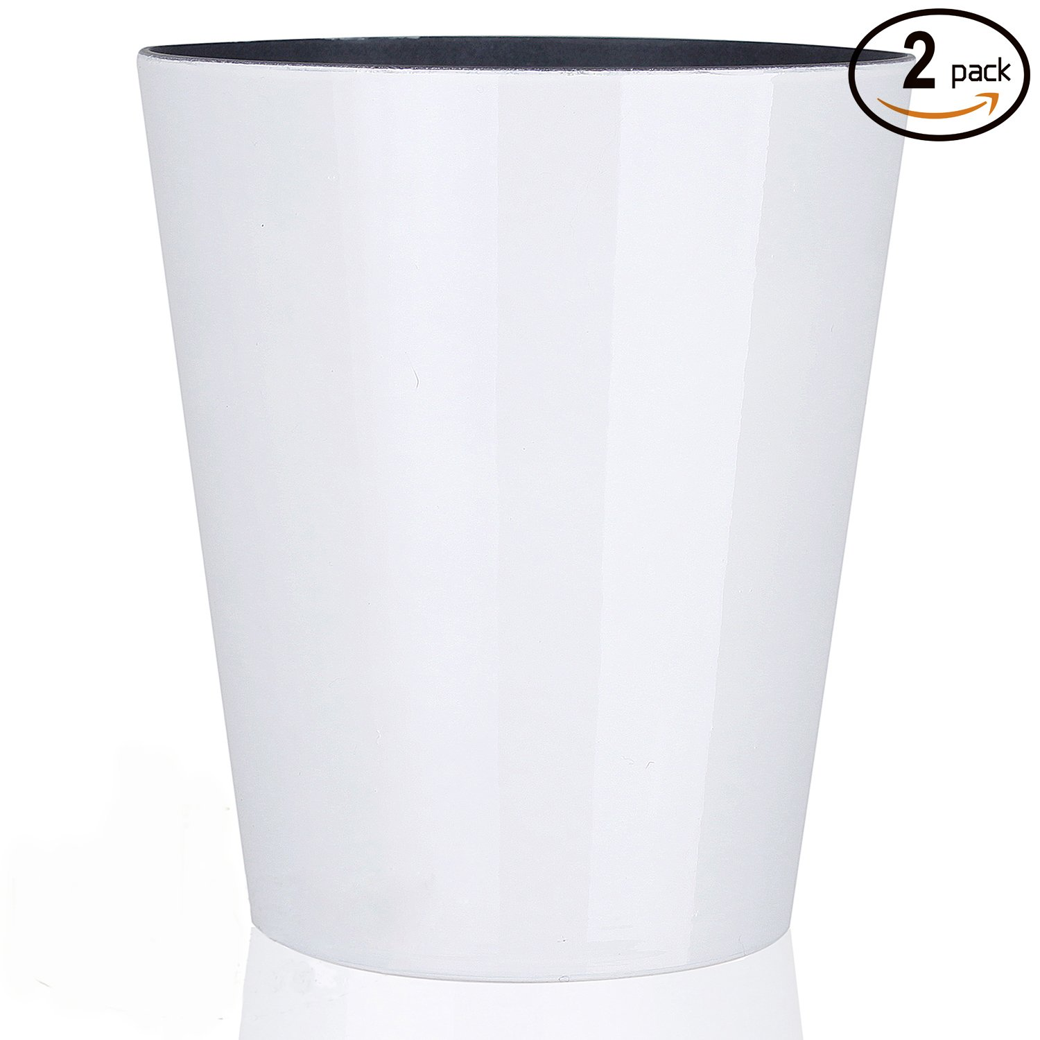 Fantastic:) 2 PACK 5 Inch Decorative Orchid Drop-In Flower Pots for Indoor Gardening and House Plants (Solid Color White S1)