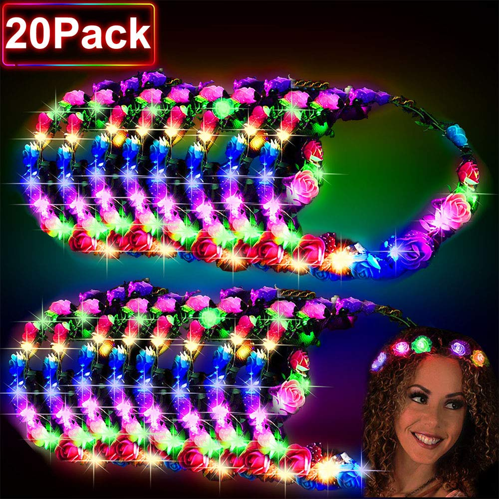 20 Pcs LED Flower Crowns, LED Flower Headbands Crowns for Girls and Women Glow in The Dark Party Supplies Led headband Led Flower Headpiece Flower Headdress for Wedding Halloween Christmas Led Party by TURNMEON