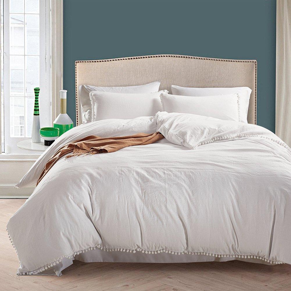 Smoofy Bedding Duvet Cover Set Ball Pom Fringe Bedding Pillowcase Sets (Queen, White)
