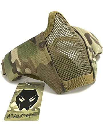 14144d6404 Worldshopping4U Tactical Airsoft Protective Guard Strike Steel Half Face  Mask with 2-Belts for CS