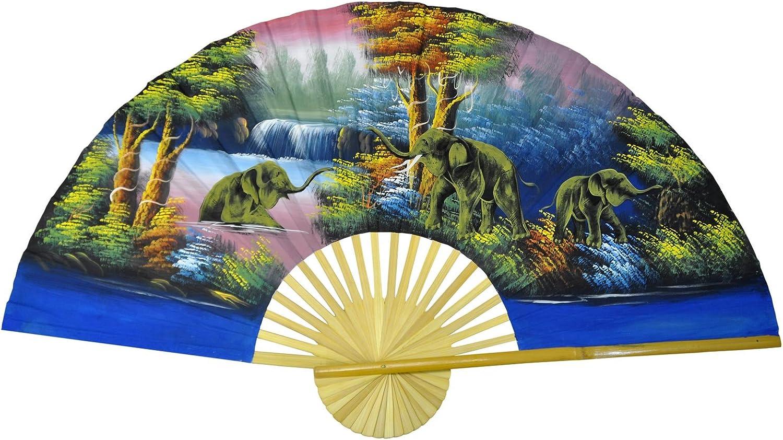 D/écoration murale 150 cm de large fait main et import/é Tha/ïlande Eventail 80069