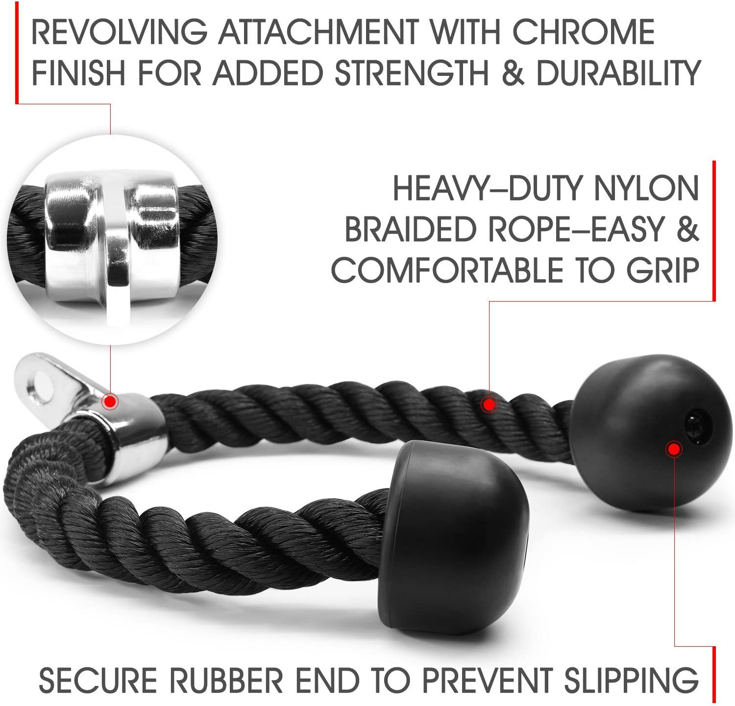 Easy to Grip /& Non Slip Cable Attachment 27 and 36-inch Rope Length Yes4All Deluxe Tricep Rope Pull Down