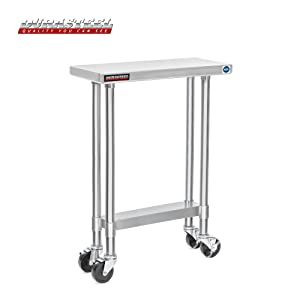 """DuraSteel Stainless Steel Work Table 30"""" x 12"""" x 34"""" Height w/ 4 Caster Wheels - Food Prep Commercial Grade Worktable - NSF Certified - Good for Restaurant, Business, Warehouse, Home, Kitchen, Garage"""