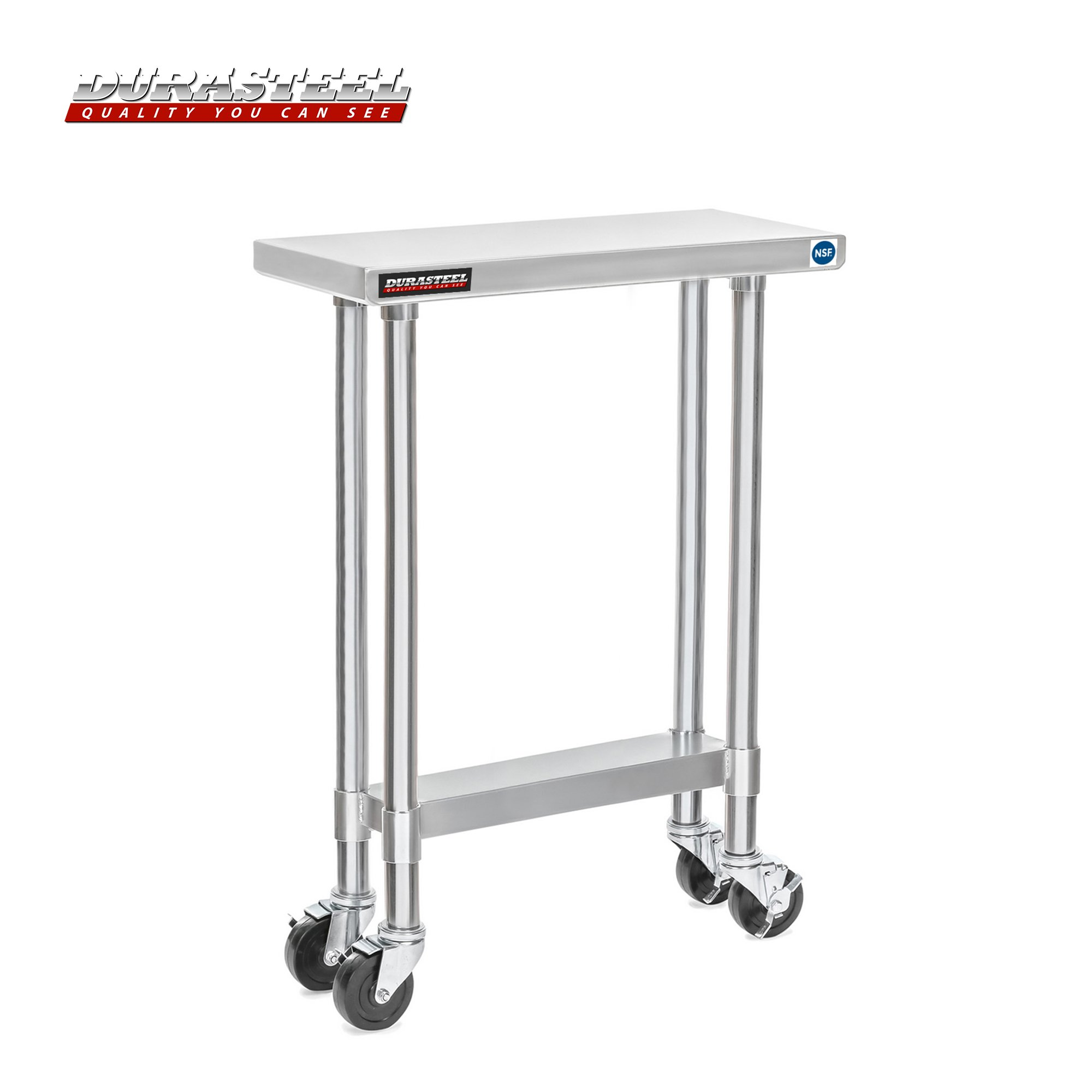DuraSteel 30'' x 12'' x 35'' Height Worktable Stainless Steel Food Prep With 4 Caster Wheels Work Table- Commercial Grade Work Table - Good For Restaurant, Business, Warehouse, Home, Kitchen, Garage by Apex