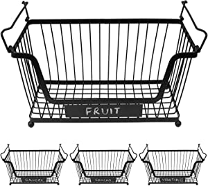 JJsparre Wire Baskets for Organizing and Storage – Stacking Metal Kitchen Pantry Bins with Open Fronts for Fruits, Vegetables and Canned Food – Black Powder Coated with Handles (4 Pack)