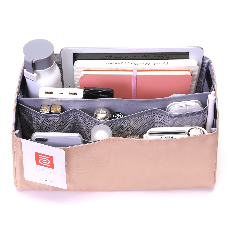 IN Purse Organizer,Handbag Organizer Insert for Speedy 25,30,35 Purse Liner Foldable (Large, Beige)
