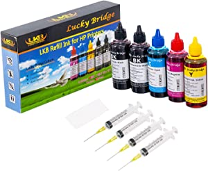 LKB Refill Ink Kit 5x100ml for HP 950 951 60 61 952 902 901 61 60 62 63 21 22 920 940 934 564 932 933 711 970 971 92 94 95 96 97 Cartridge or CIS CISS System 4 Color Set (500ml) -US