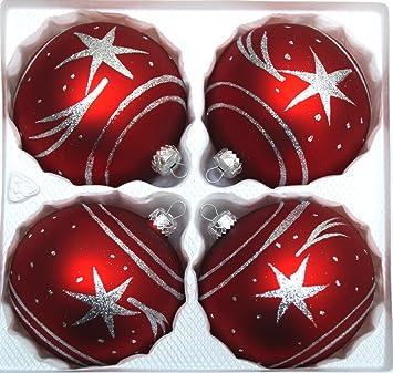 Christbaumkugeln 12 Cm Durchmesser.4 Tlg Glas Weihnachtskugeln Set 12cm O In Classic Rot Silber Komet Christbaumkugeln Weihnachtsschmuck Christbaumschmuck 12cm Durchmesser