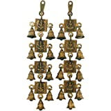 Villcart Brass Ganesha and Laxmi Bell Hanging Pair, 9x3.3x36cm(Golden)
