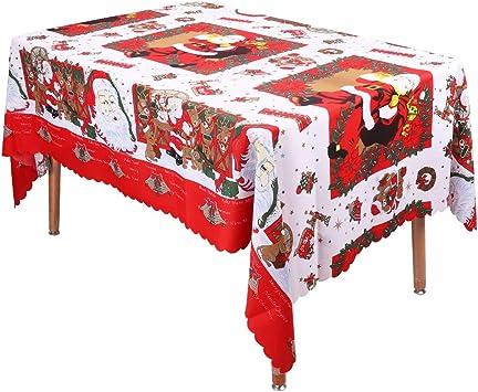 Wisforbest Nappe De Noël Rectangulaire 217 X 146cm Polyester Anti Taches Au Charme Traditionnel Nappe Santa Rouge Et Blanc à Motifs Père Noël