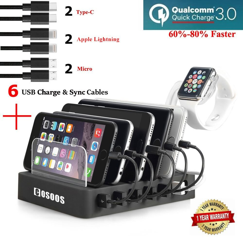 Fastest Charging Station with QC 3.0 Quick Charge,6 USB Cables(3 Types),iWatch Holder,COSOOS Universal 6-Port Docking Stand,Best Phone Organizer Hub for iPhone,iPad,Samsung,LG,Nexus,Tablet,Kindle