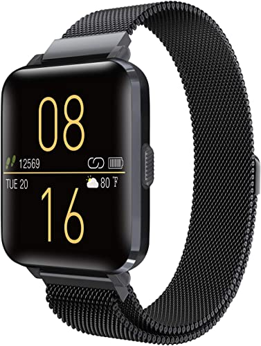 Kalakate Smart Watch for Men Women, IP68 Waterproof Smartwatch for Android iOS Phones Compatible iPhone Samsung, Fitness Tracker with Heart Rate Monitor Sleep Steps Call Reminder Black