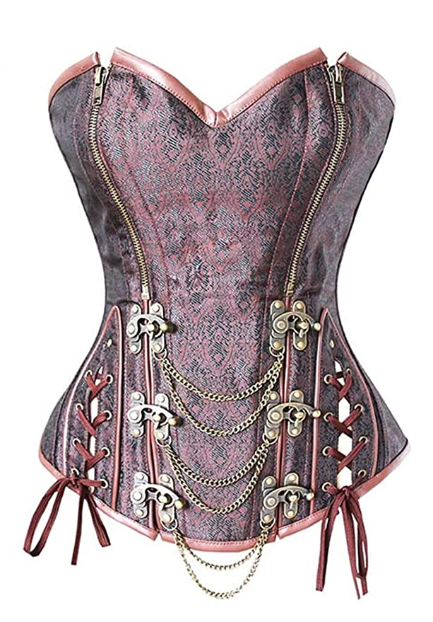 6e7e485e7 HITSAN Retro Corset Brown Brocade Double Zipper Overbust Steampunk Double  Steel Buttons Espartilho with Chains Plus Color As The Picture Size L   Amazon.in  ...