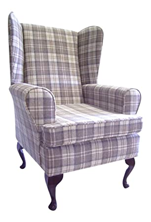 Queen Anne Style Chair In A Latte Tartan Fabric .wing Back Fireside High  Back Chair