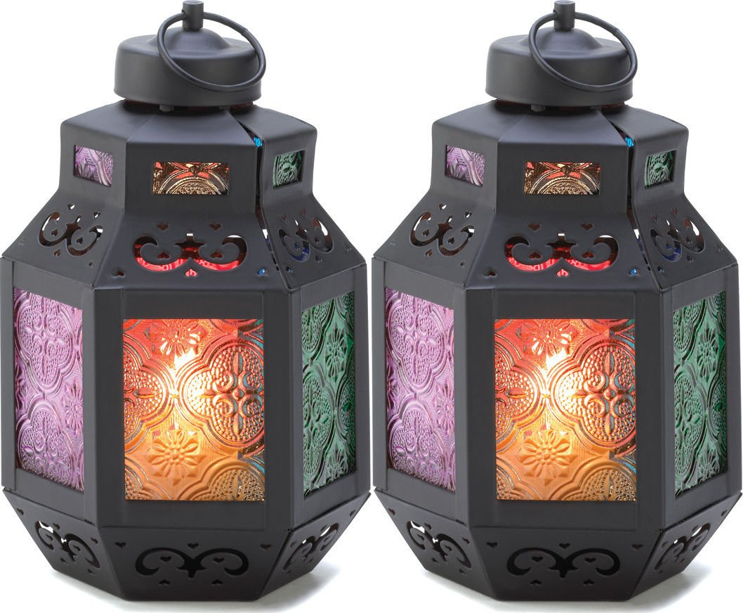 2 Moroccan Rainbow'S Delight Candle Lantern Centerpieces Decor Small