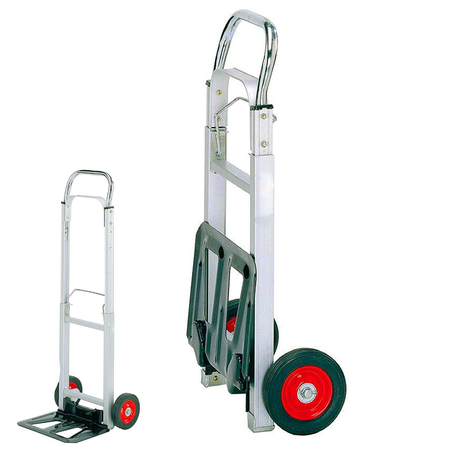 Heavy Duty Folding Sack Truck - Warehouse Flat Bed With 90KG Max Load White Hinge