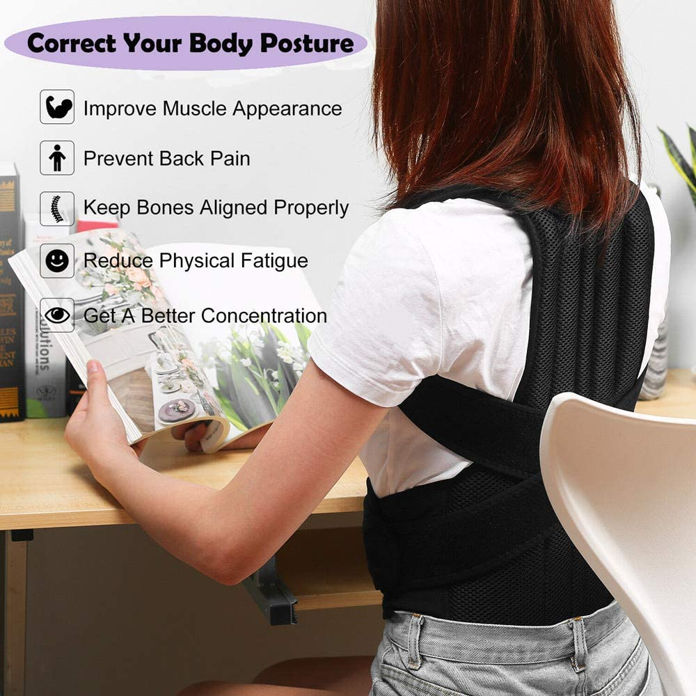 Back Brace Posture Corrector for Women and Men Back Lumbar Support Shoulder Posture Support for Improve Posture Provide and Back Pain Relief (31-35.5)