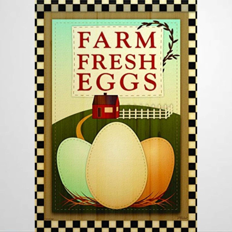 BYRON HOYLE 619612_Farm Fresh Eggs Garden Flag Decorative Holiday Seasonal Outdoor Weather Resistant Double Sided Print Farmhouse Flag Yard Patio Lawn Garden Decoration 12 x 18 Inch