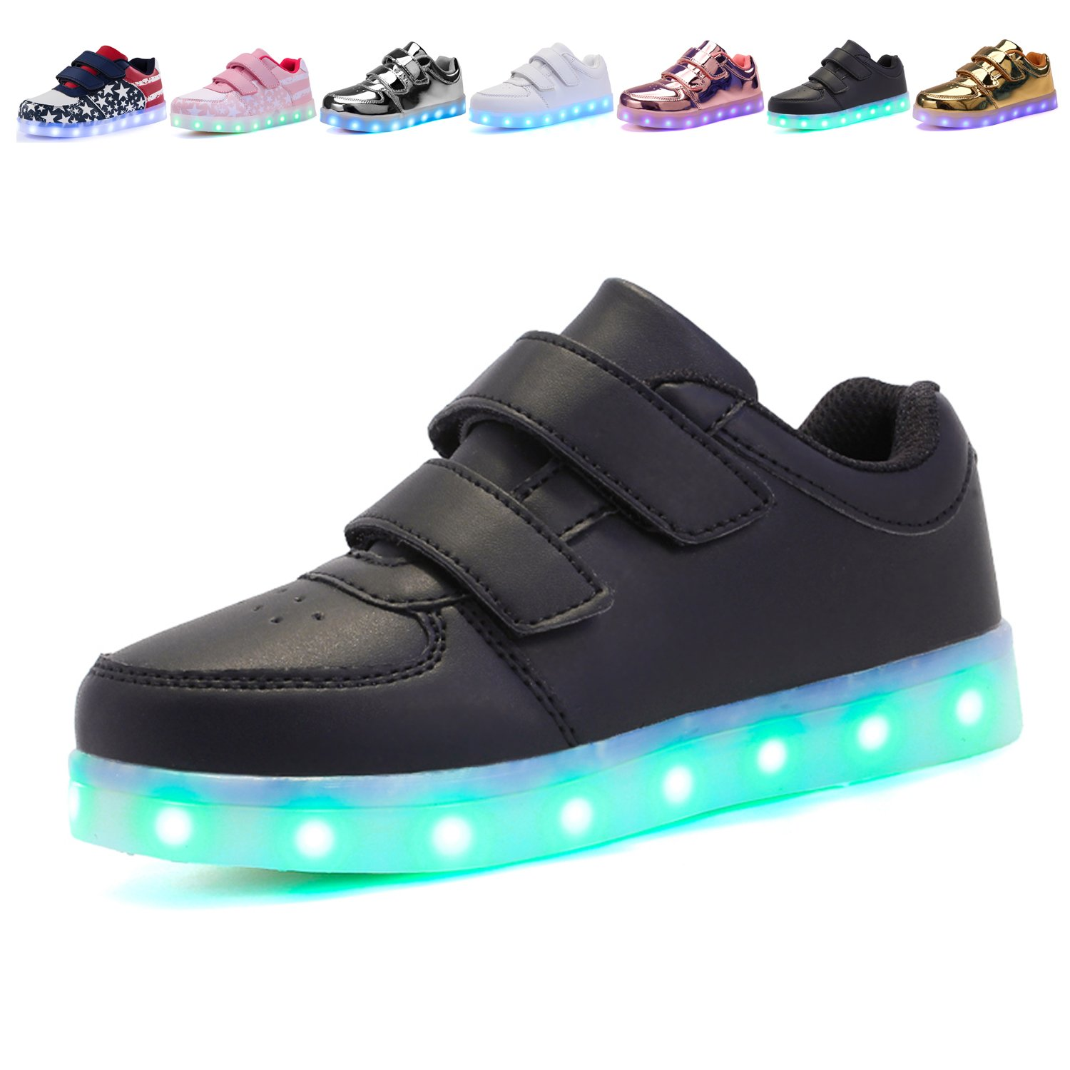 Voovix Kids LED Light up Shoes Lighting Low-Top Sneakers for Boys and Girls(Black,US2.5/EU34)