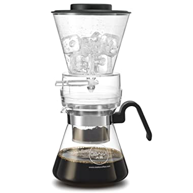 Osaka, Cold Brew Coffee Maker - 4 Cup (20oz/600ml) Cold-Brew Dripper - Innovative Adjustable Dripper with Glass Carafe And Stainless Steel Filter - Achieve Great Tasting, Smooth, Cold Brewed Coffee