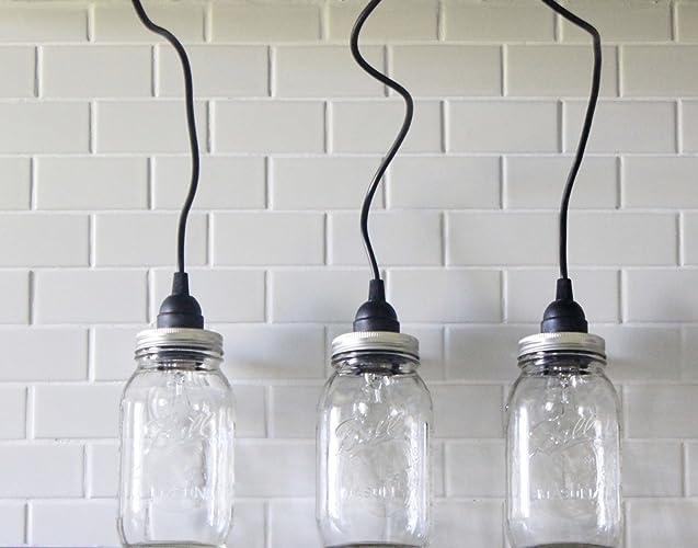 Amazon.com: 3 Mason Jar Pendant Lights, Three Hanging Lights ...