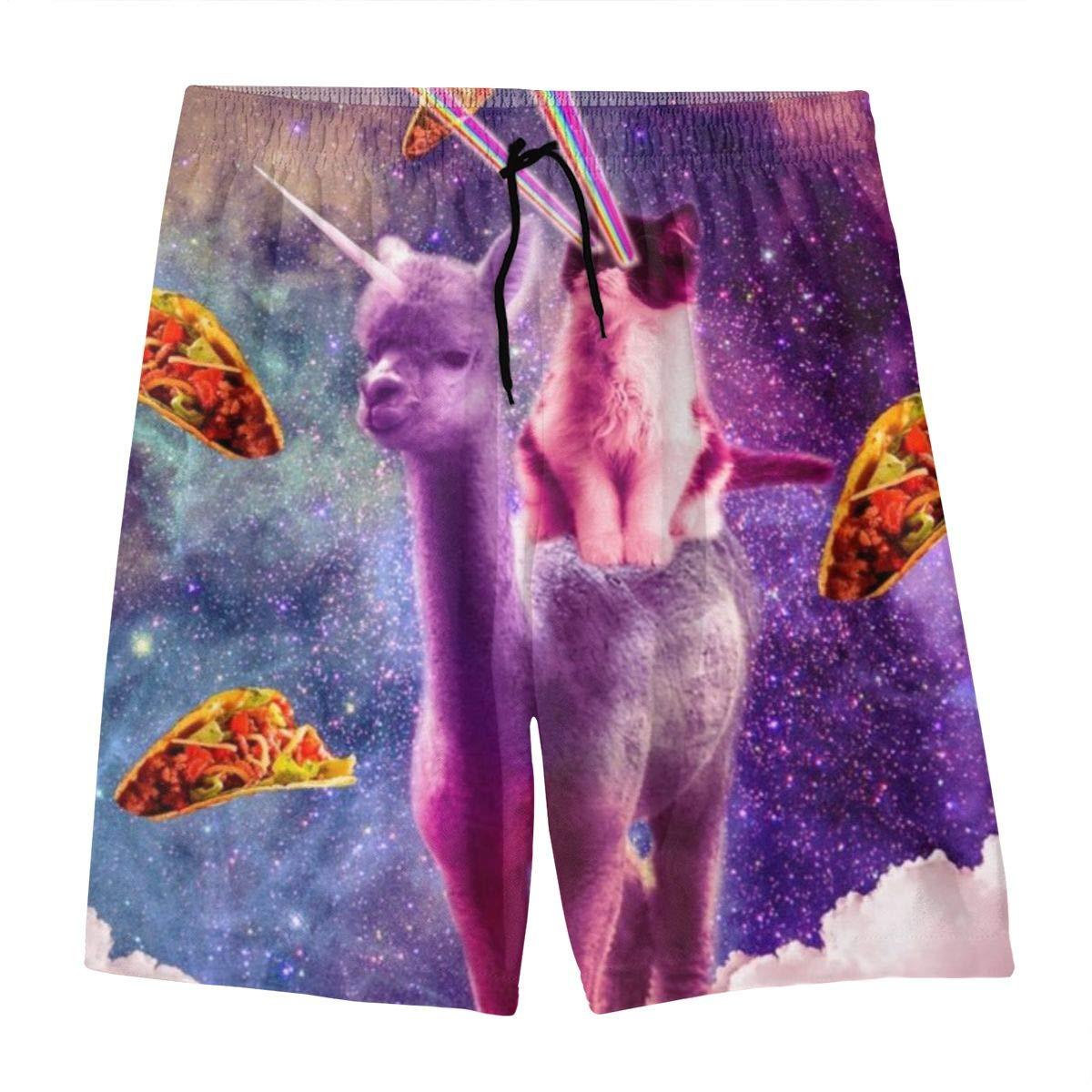 COLSHOORTS Cosmic Cat Riding Alpaca Llama Unicorn Pizza Taco Mens Hawaiian Boardshorts Quick Dry Swimsuit 3D Printed Elastic Beach Short Aloha Short with Pocket