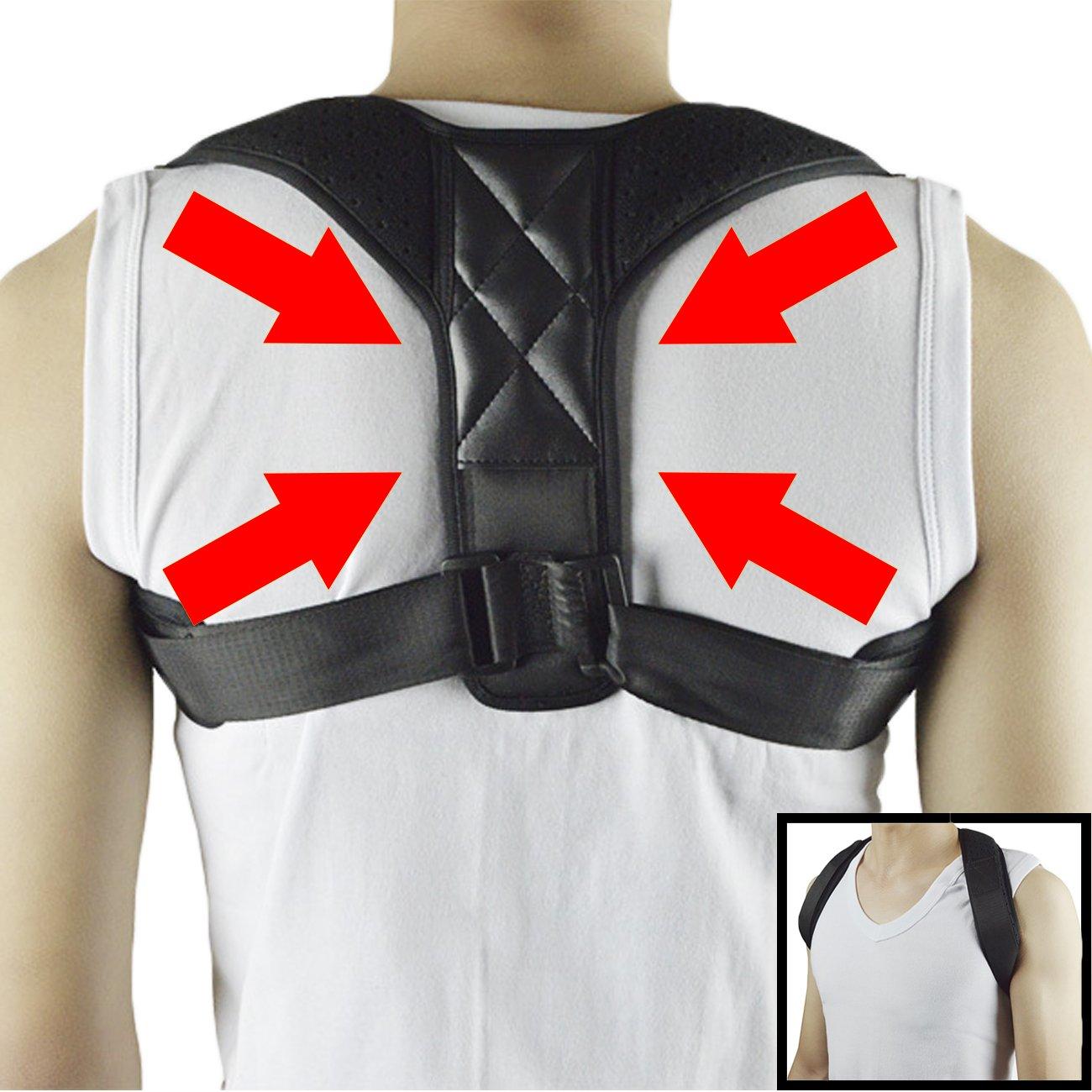 Adjustable Shoulder Support Posture Correct Strap for Poor Posture Improve Hunched Back Black Fittoo