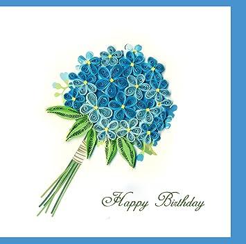 Blue Bouquet Flower Happy Birthday Handmade Wish Day Gift Quilling